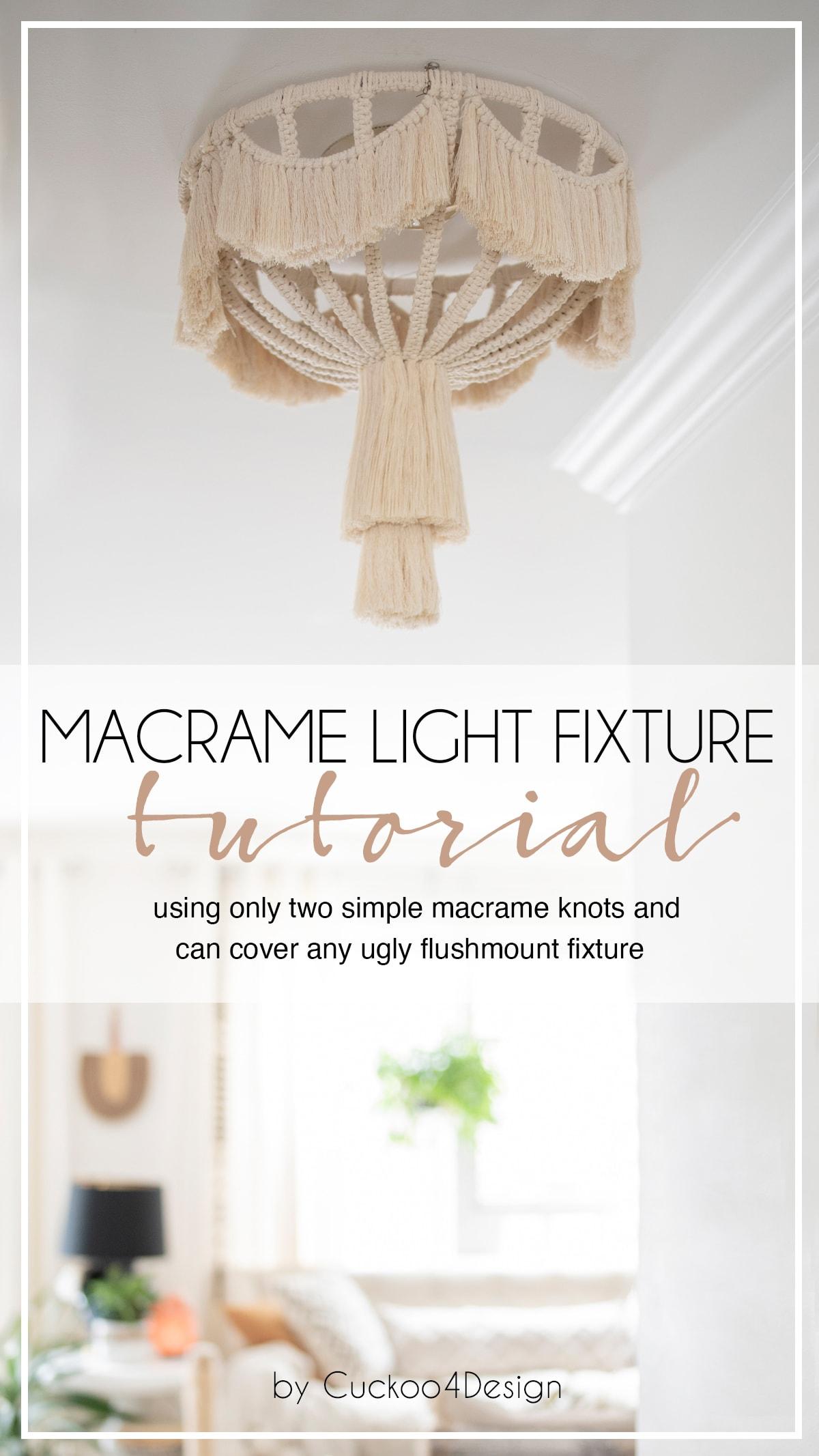 DIY flush mount macrame light fixture