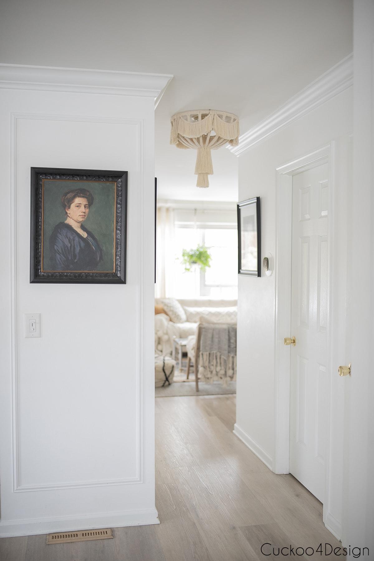 hallway view of flush mount macrame ceiling fixture