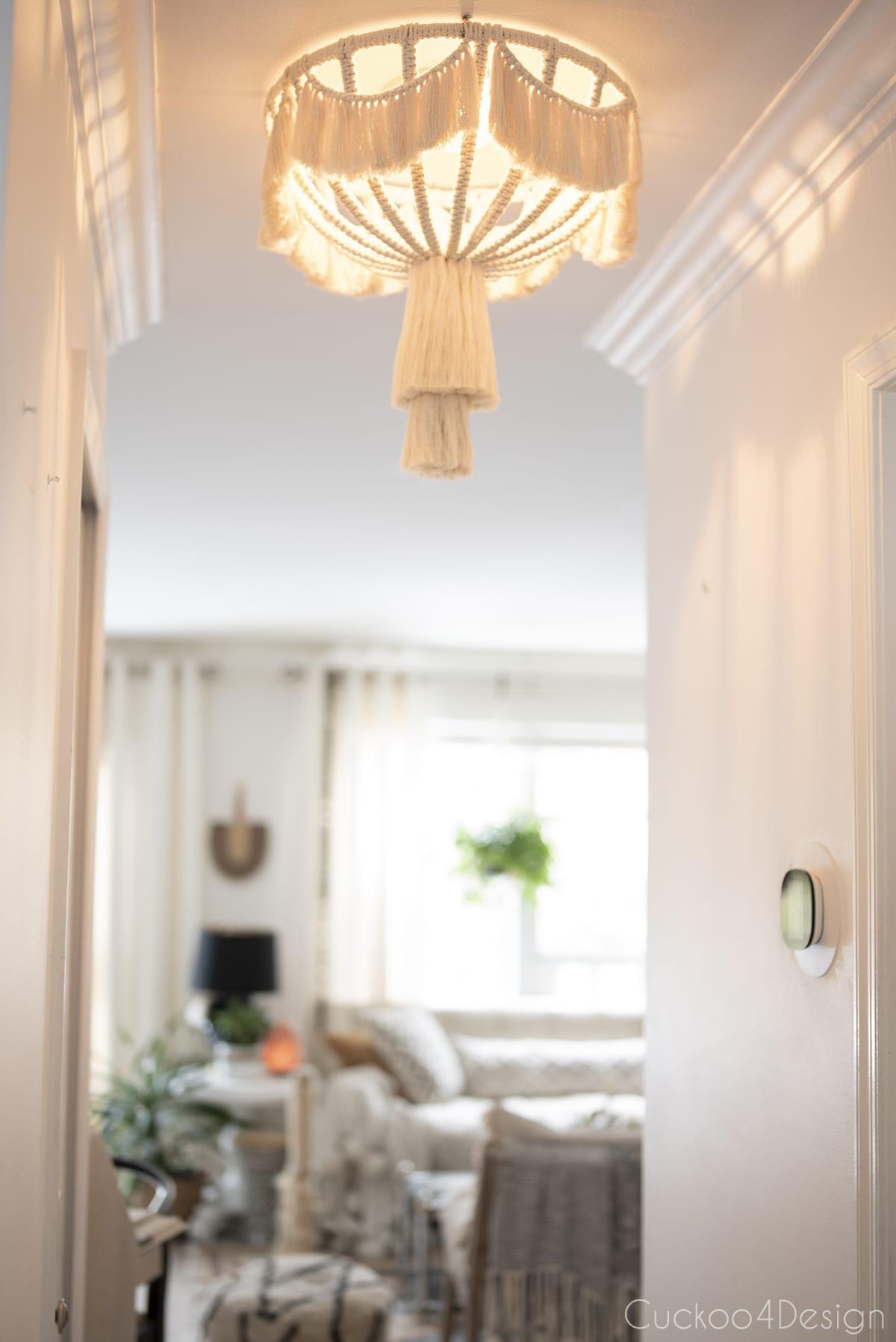 lit flush mount macrame light fixture