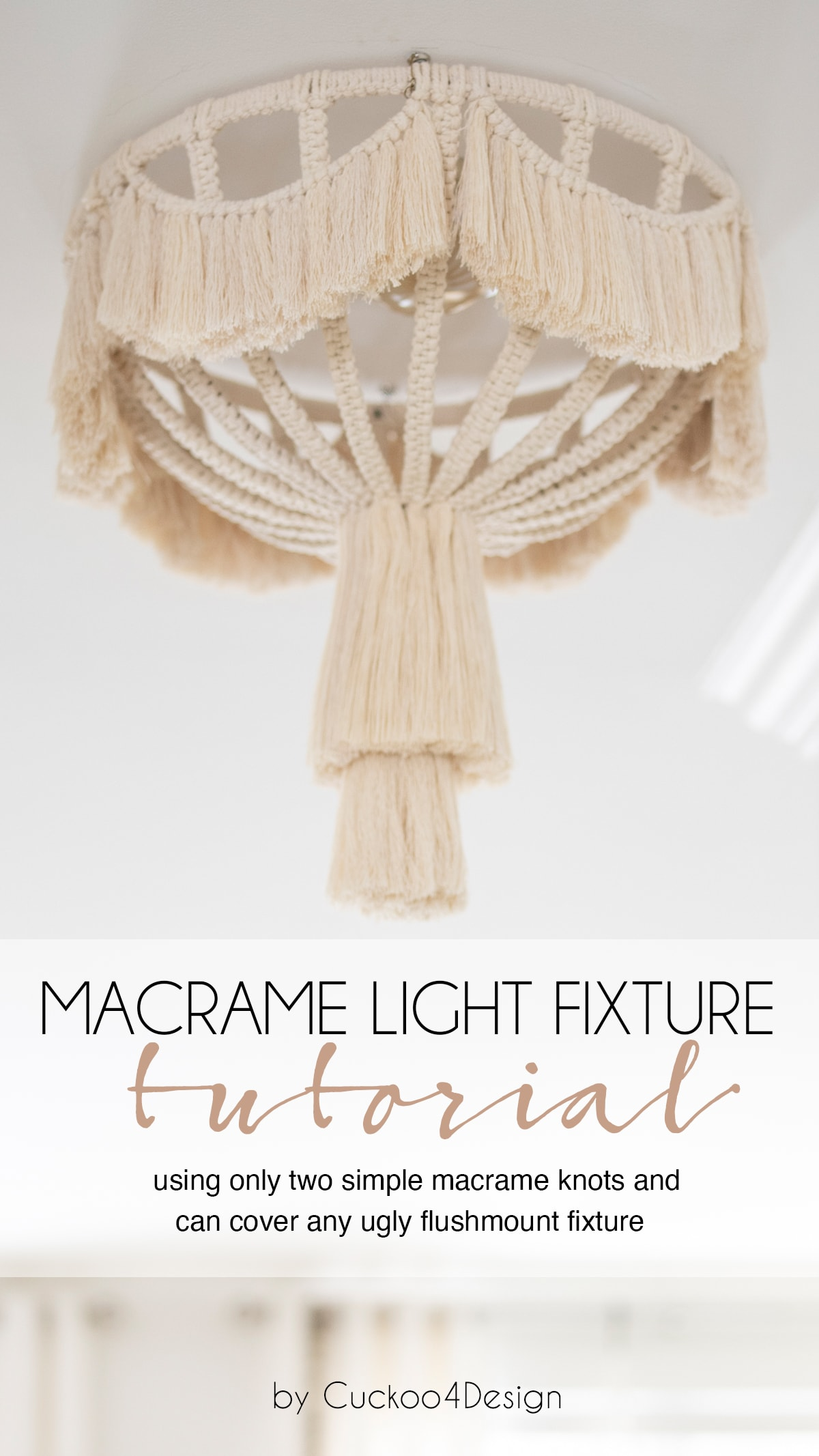 finished and hanging macrame light fixture