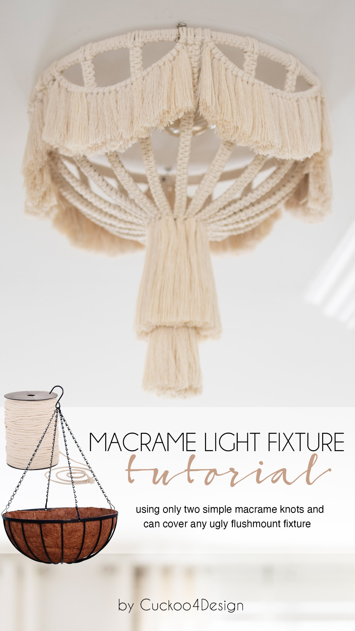 macrame light fixture tutorial using only two simple macrame knots