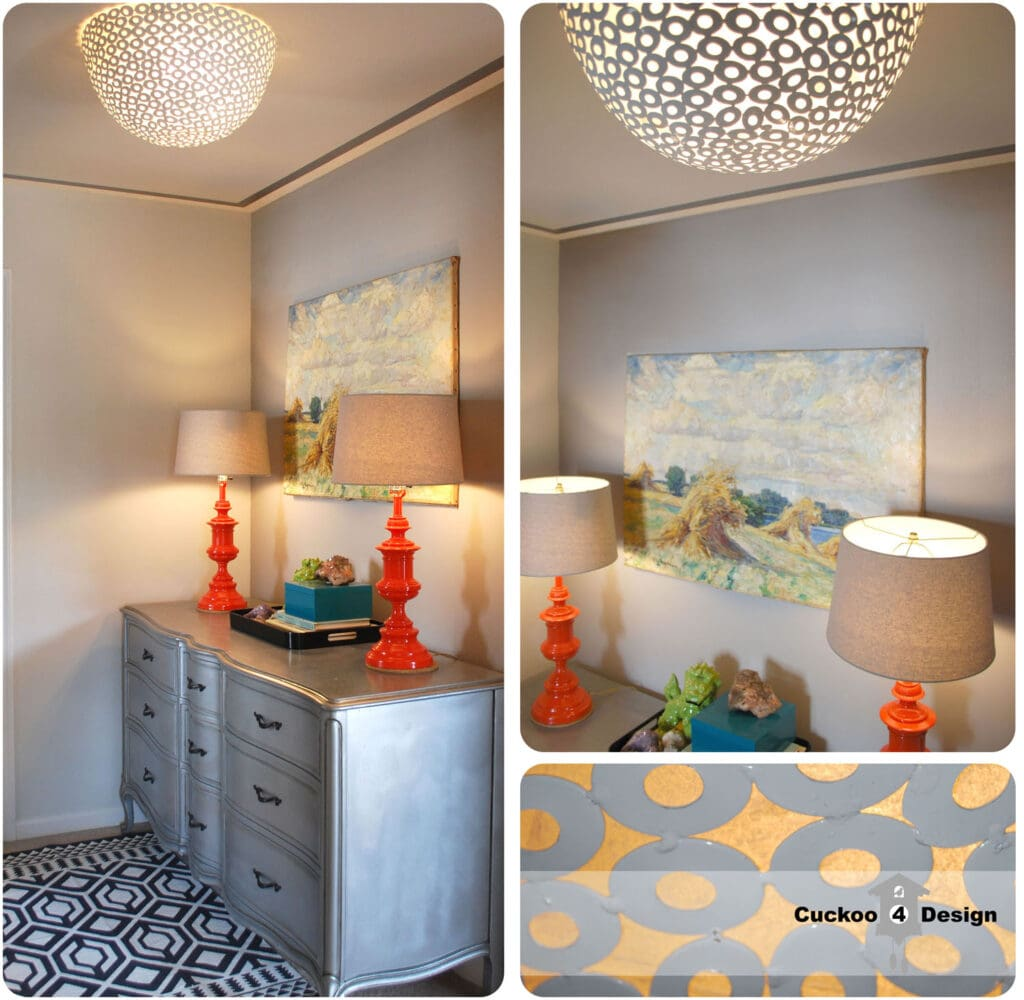 previous look of the DIY flush mount ceiling fixture