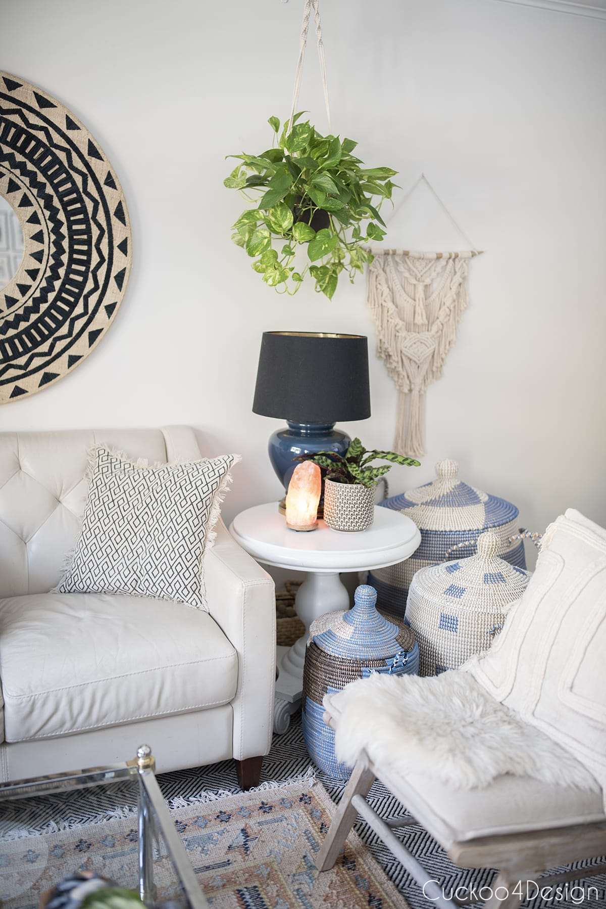 variegated pothos hanging over living room end table