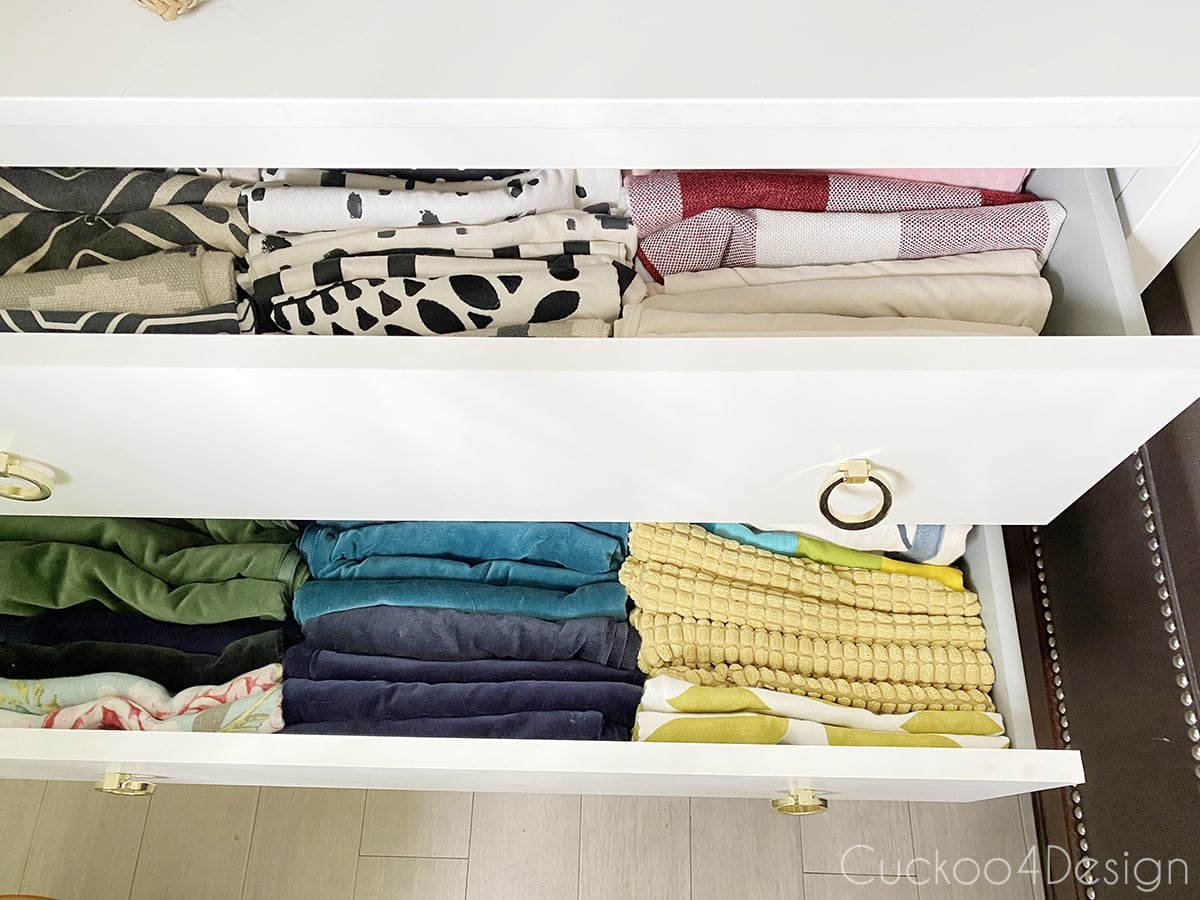 drawers storing unused pillow covers