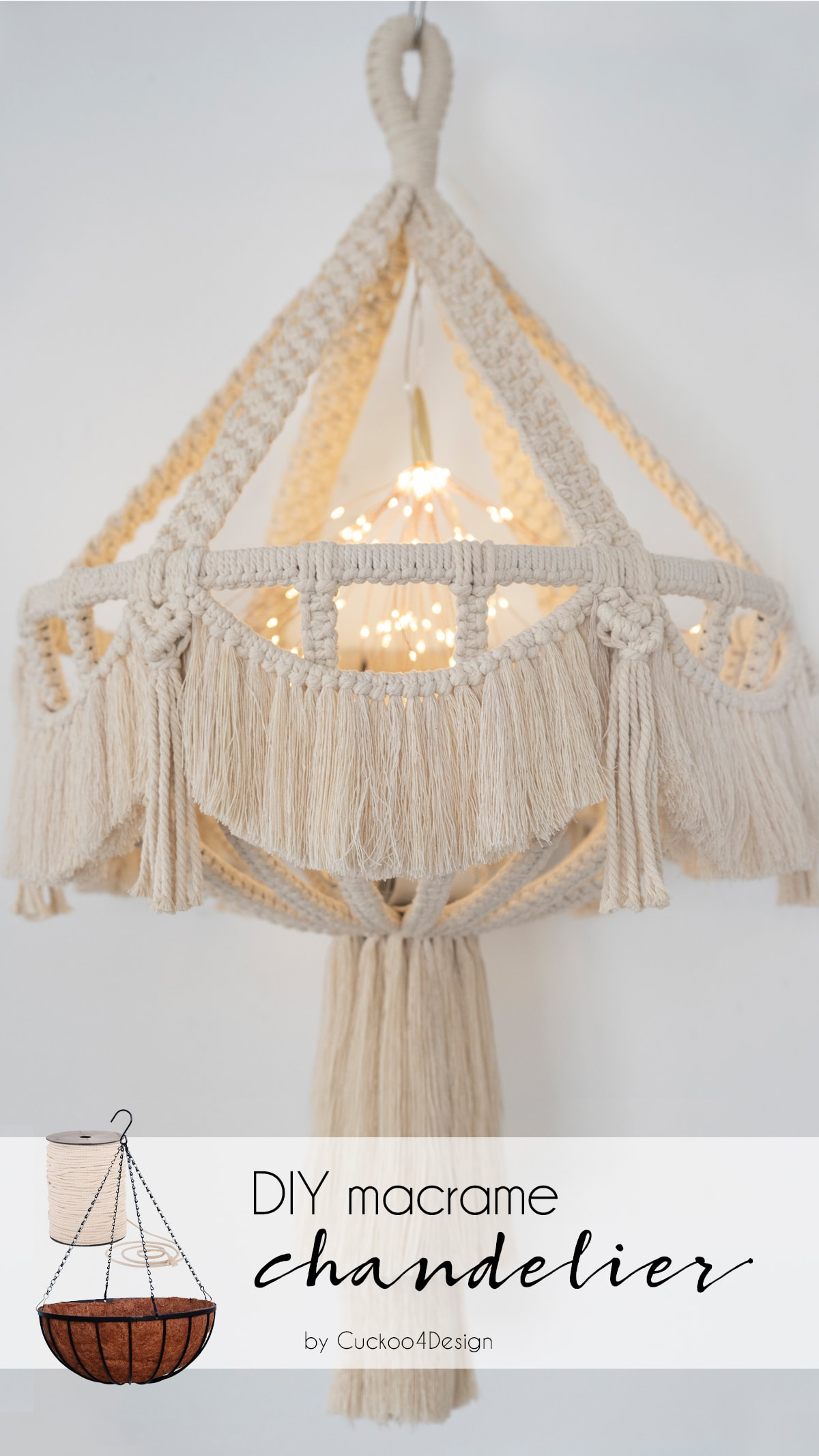 DIY macrame chandelier with video tutorial