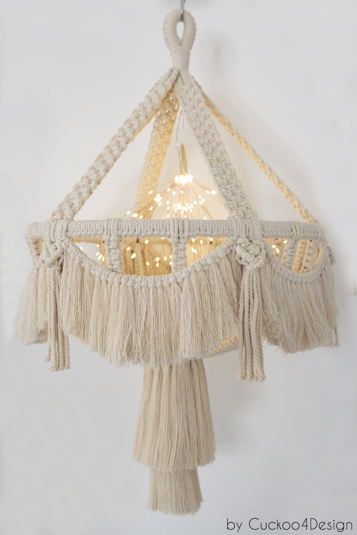 battery operated lights lit inside macrame chandelier