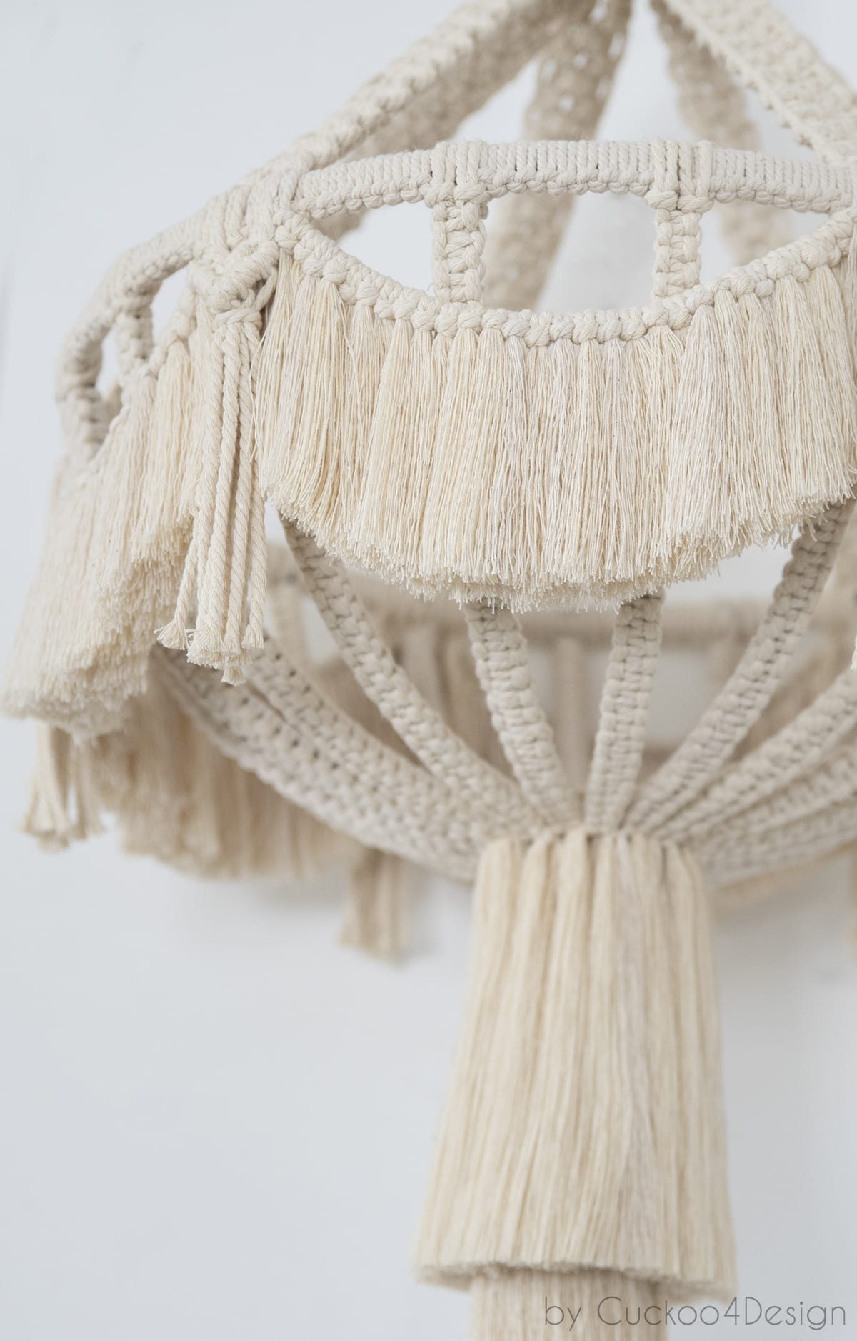 close-up of DIY macrame chandelier without lights