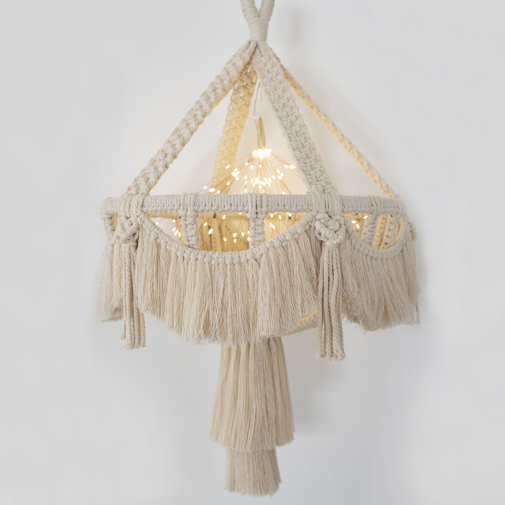 stylish DIY macrame chandelier made from planter basket