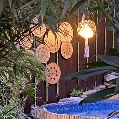 DIY macrame outdoor hanging solar lantern