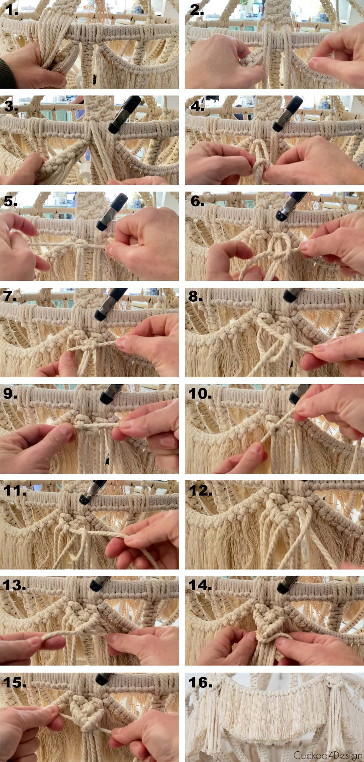 step-by-step photos about how to attach the top to macrame chandelier