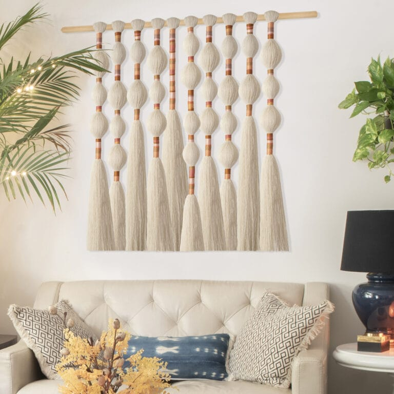 How to make long narrow wall art using combed macrame yarn and embroidery floss