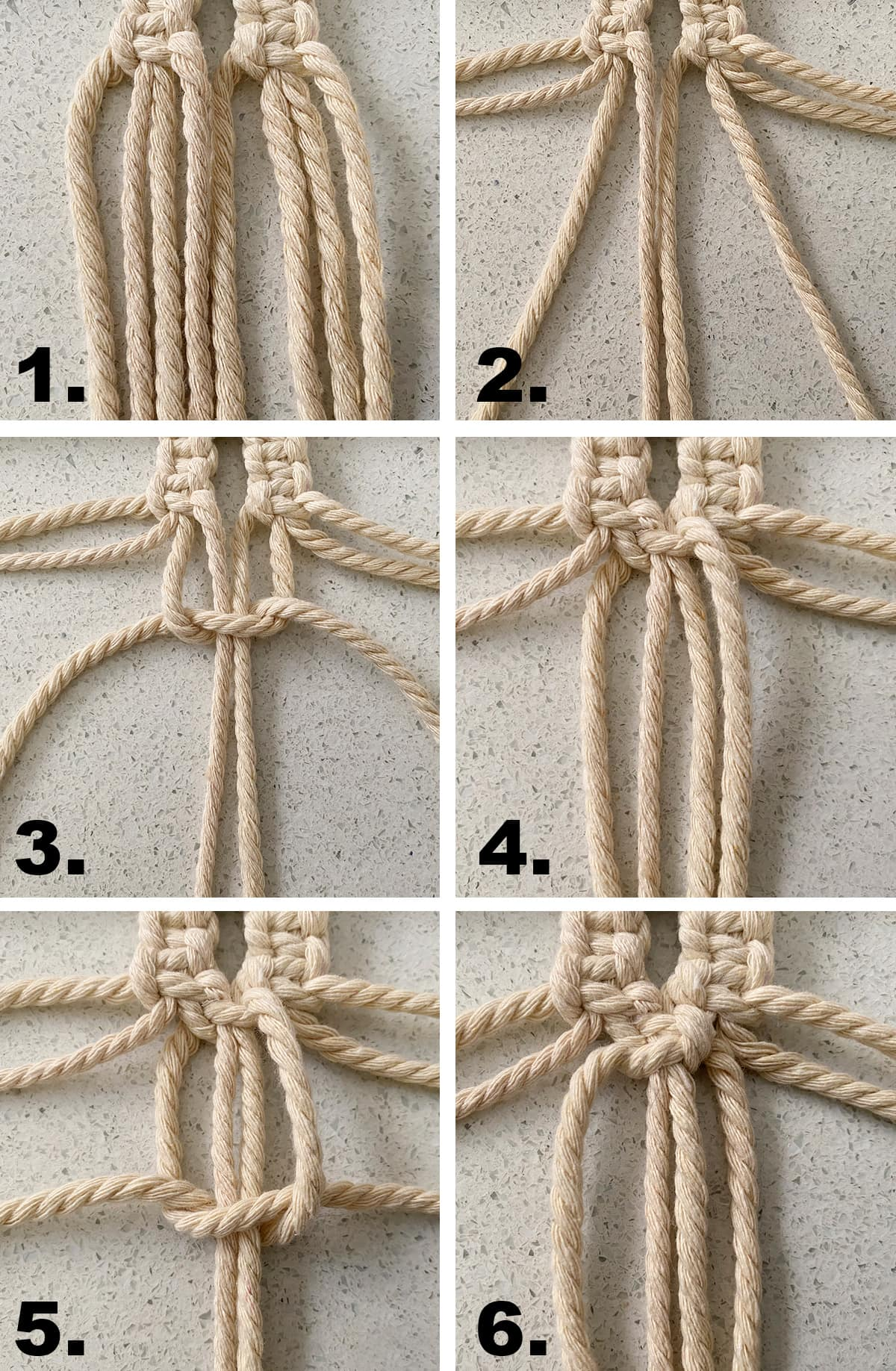 first part to steps to make an alternating square knot
