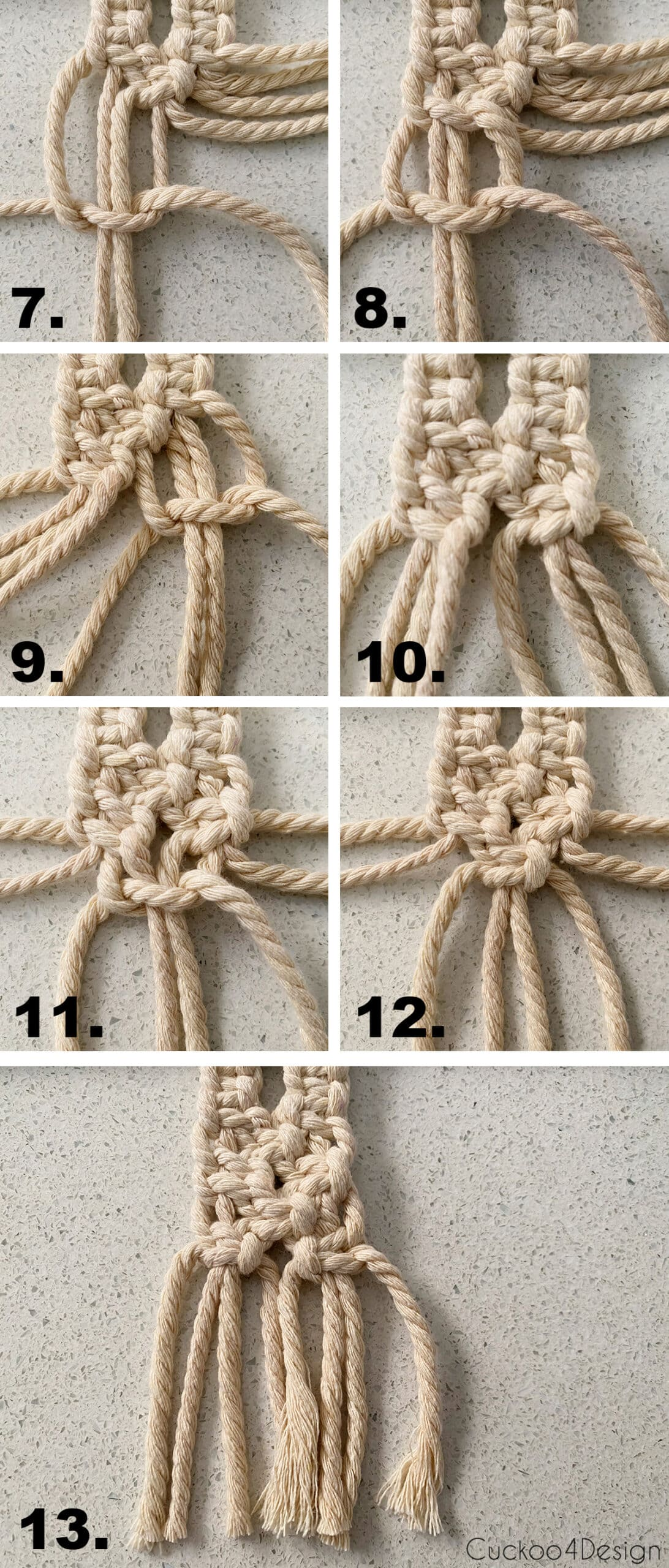 second part to steps to make an alternating square knot