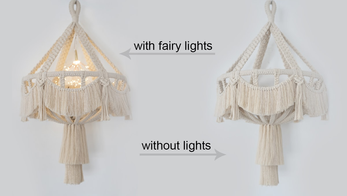 side-by-side view of macrame chandelier with and without lights