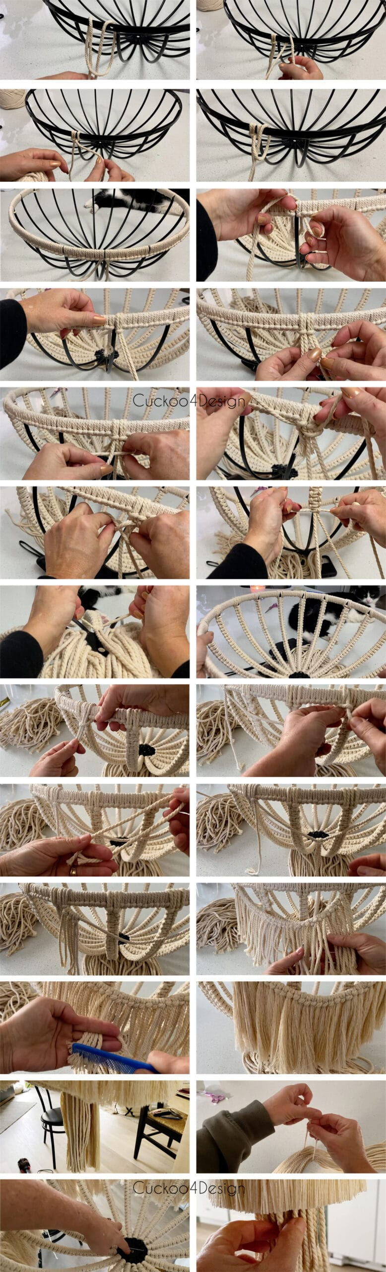 first part step-by-step photo instructions about how to make macrame chandelier