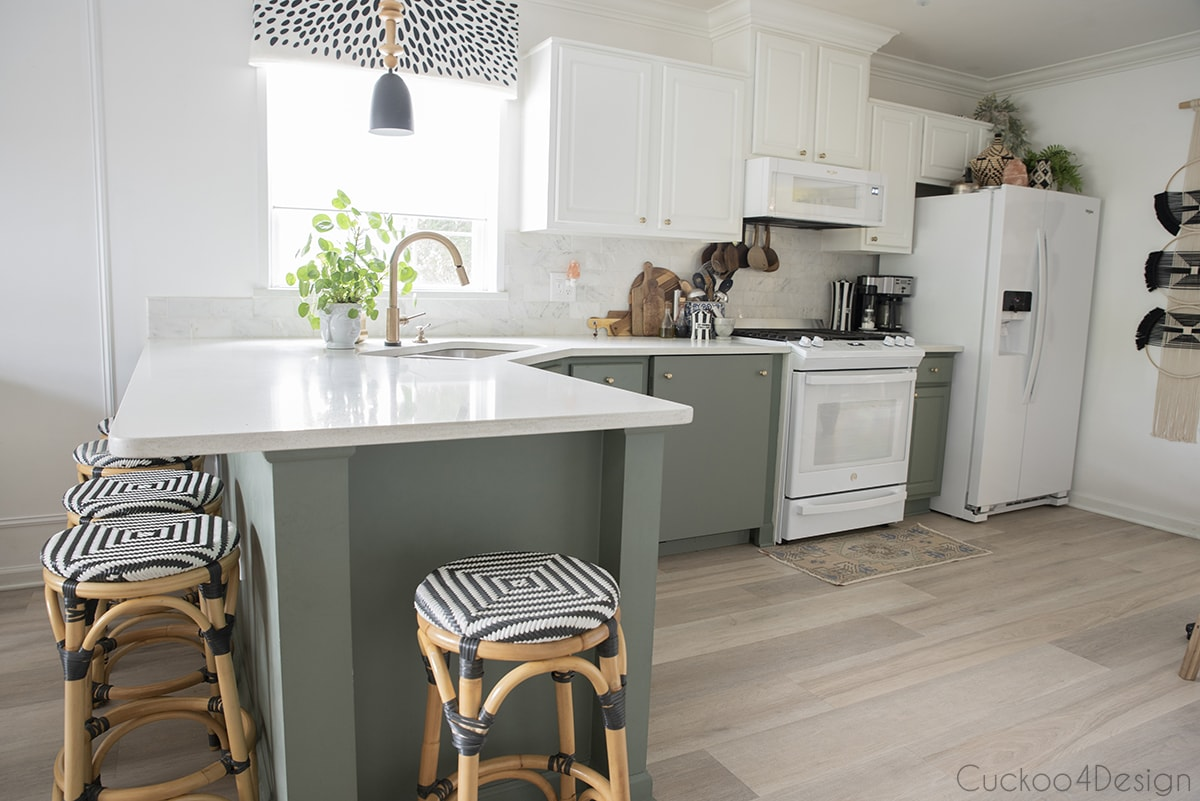 side view of kitchen with custom colored dishwasher