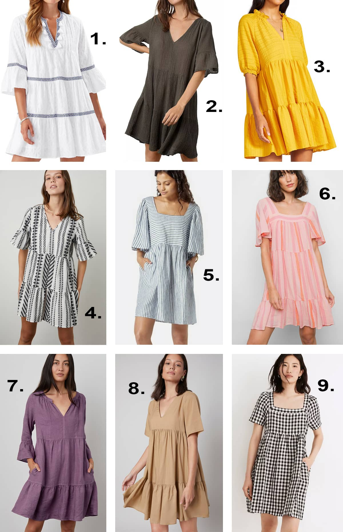 Sources for short tiered dresses