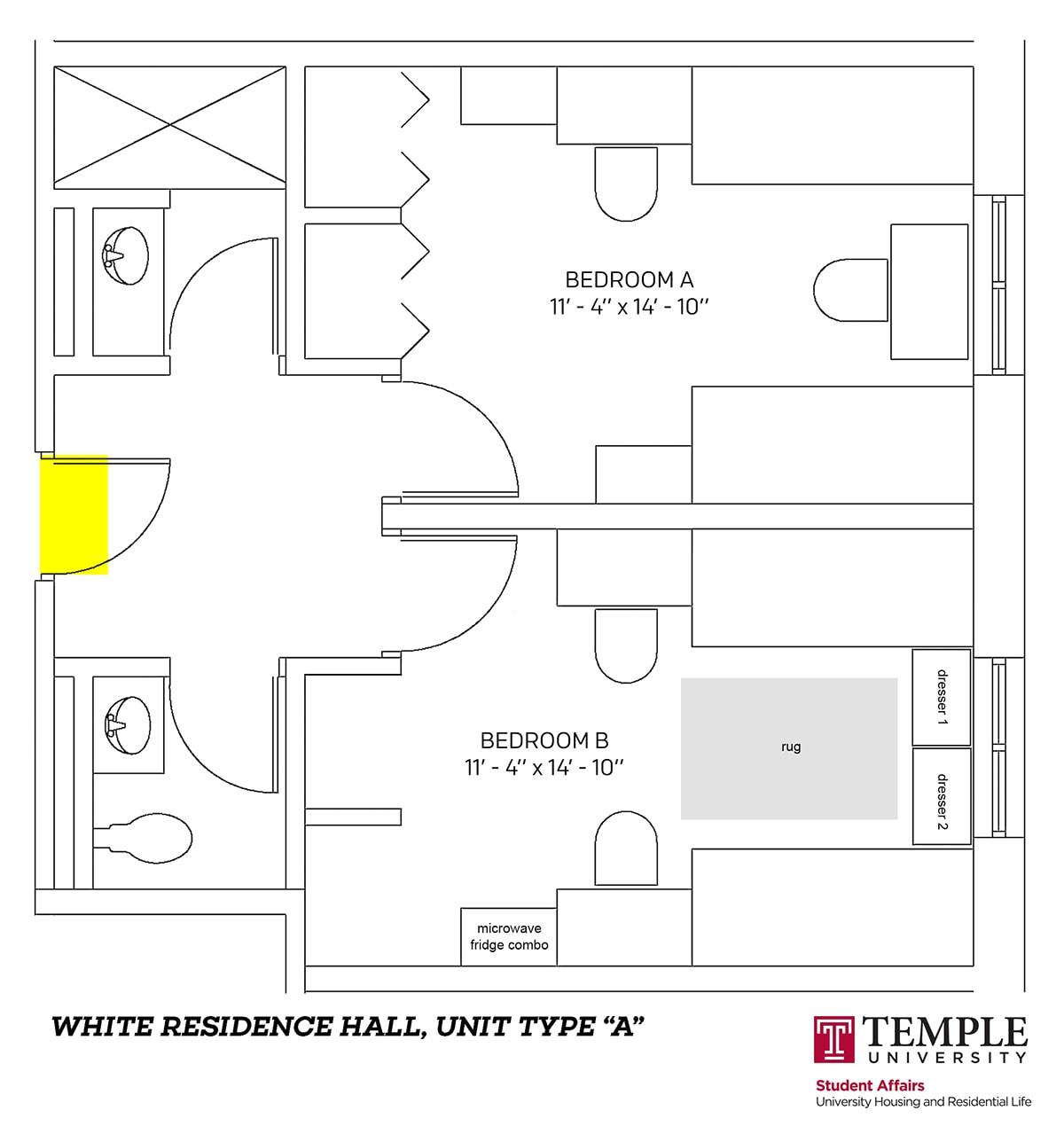 White Hall dorm room layout