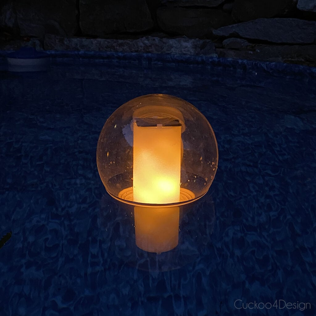 floating solar globe flickering candle floating in stock tank pool