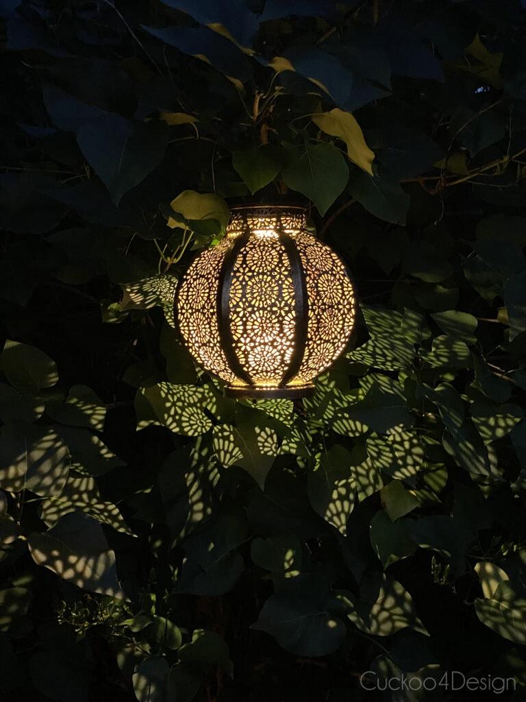 outdoor solar lantern at night