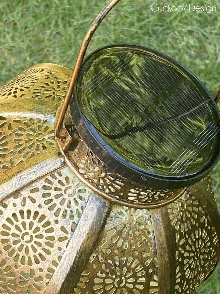 close up of metal solar lantern