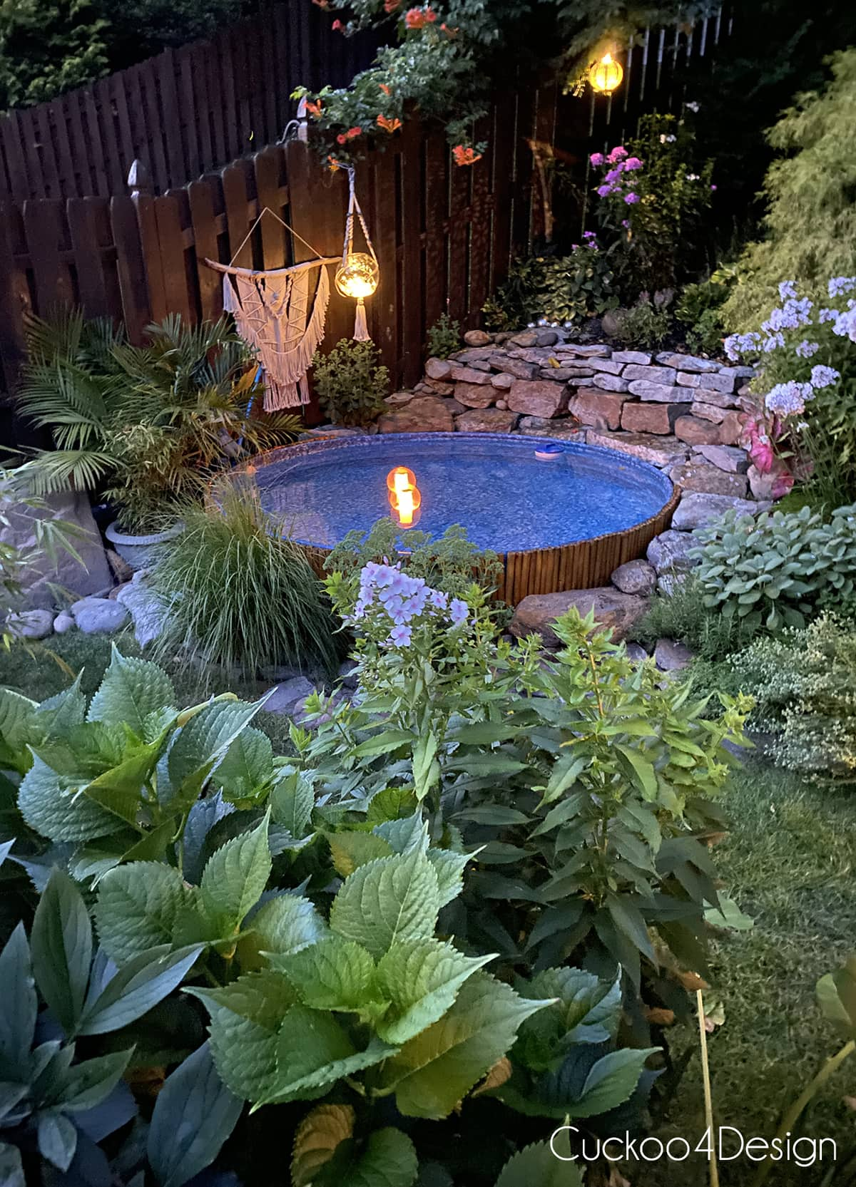 outdoor solar lights used in and around the stock tank pool