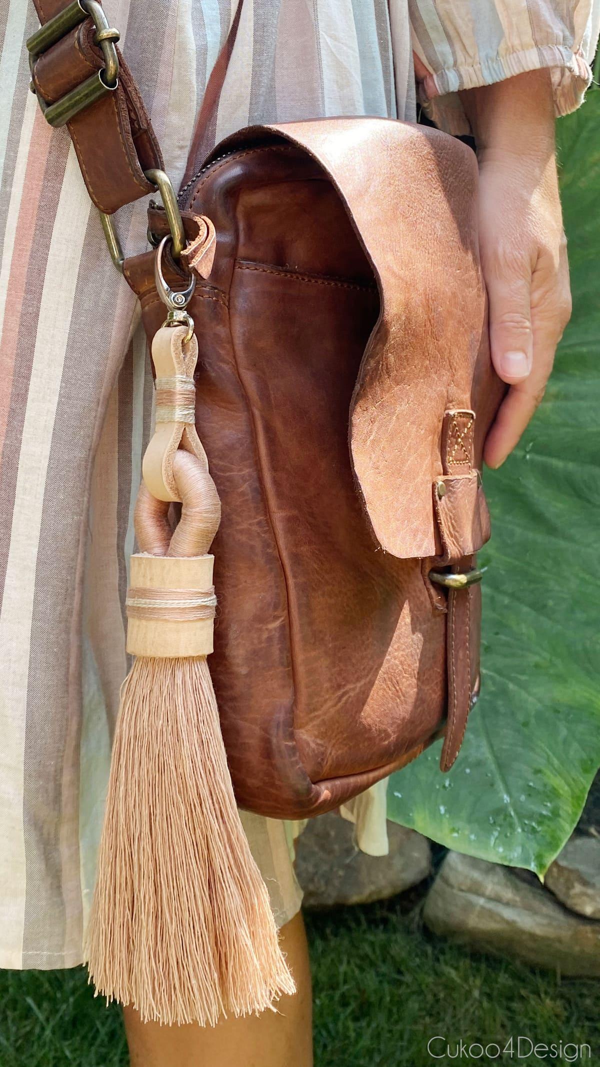 tassel keychain used as purse charm