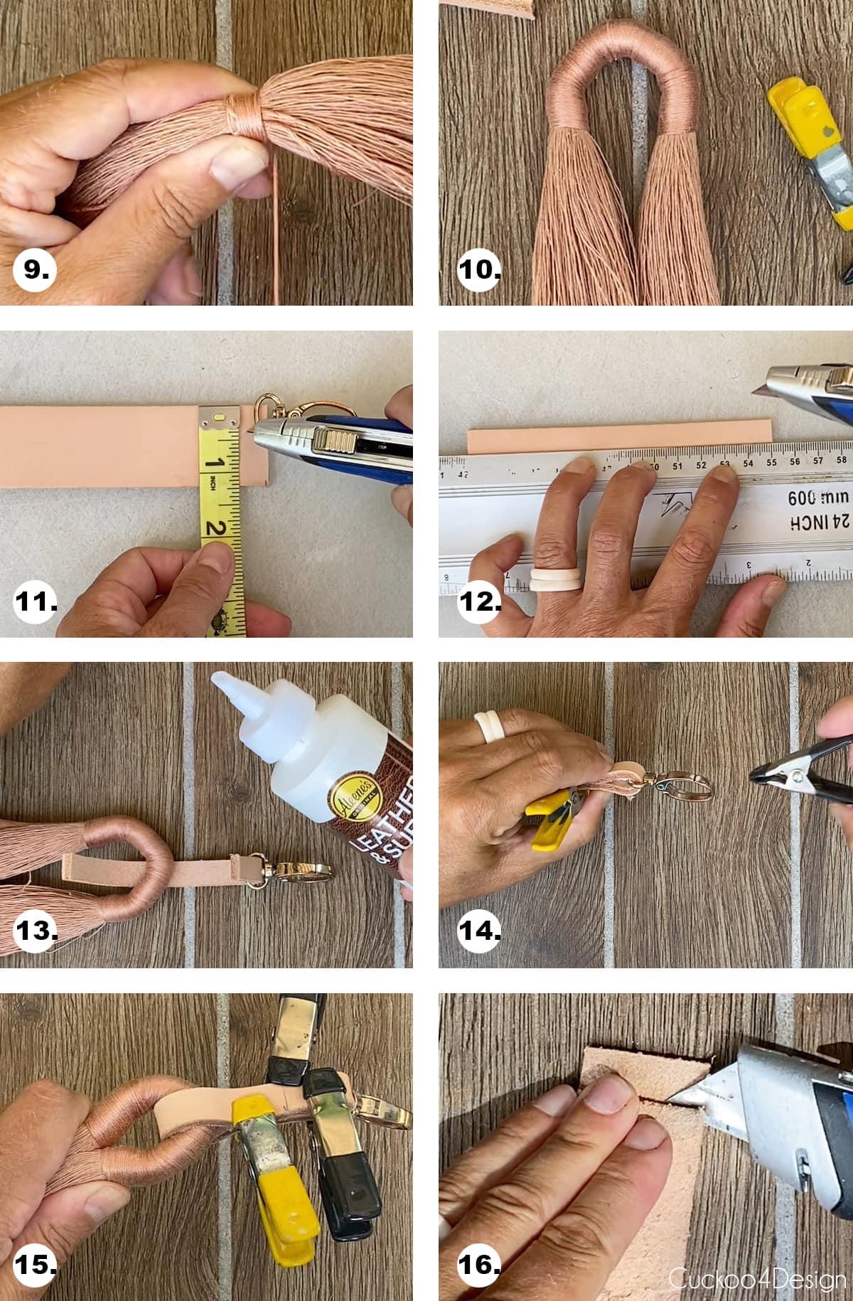 steps 9 through 16 needed to make keychain tassel