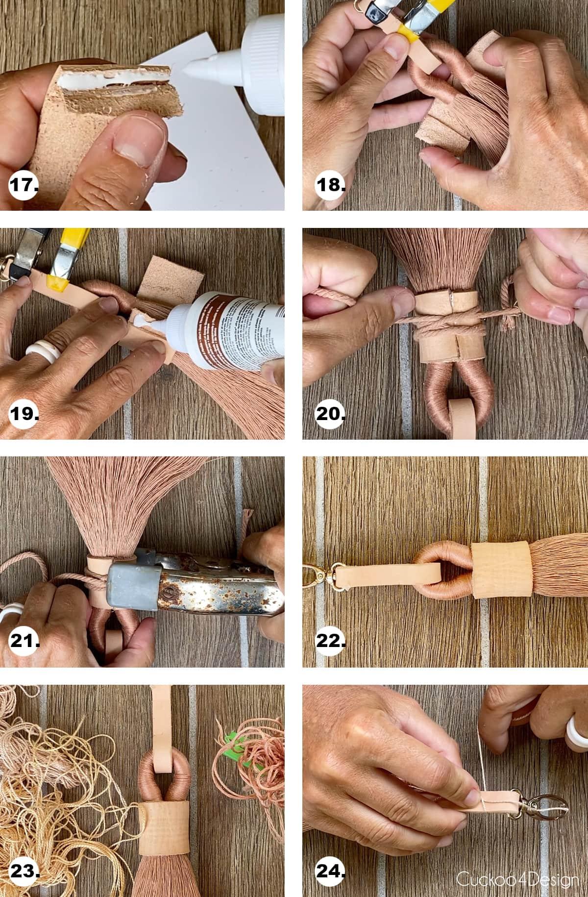 steps 17 through 24 needed to make keychain tassel