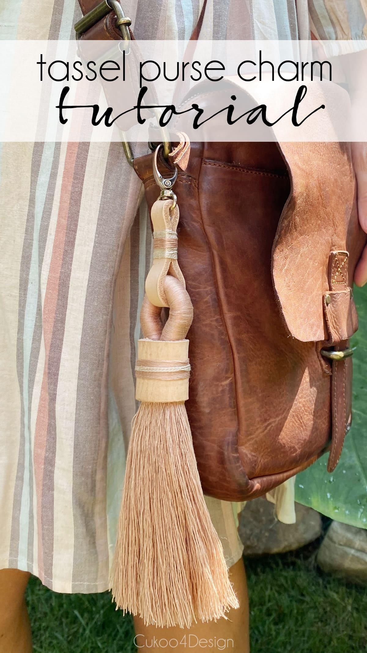 tassel keychain clipped on shoulder strap bag