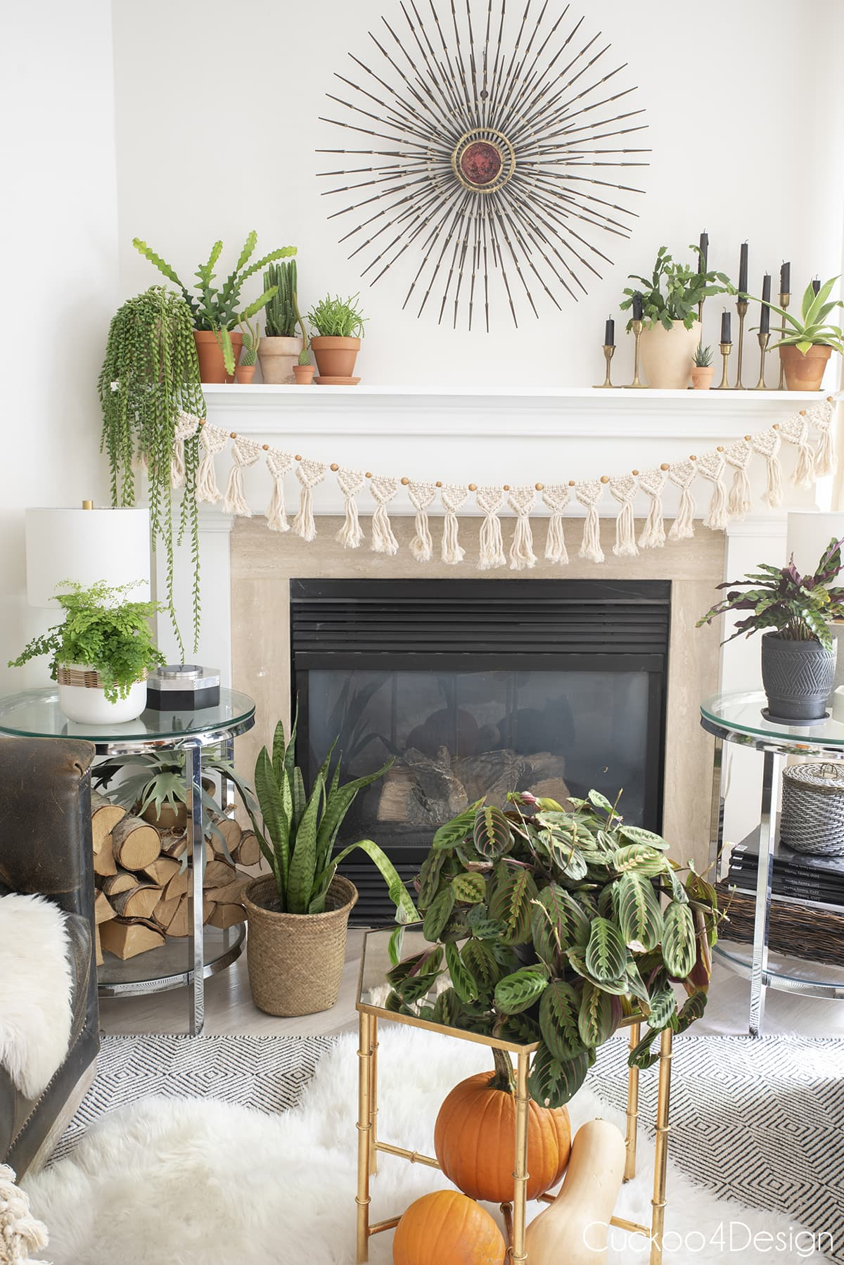 close up of fall mantle decor with plants