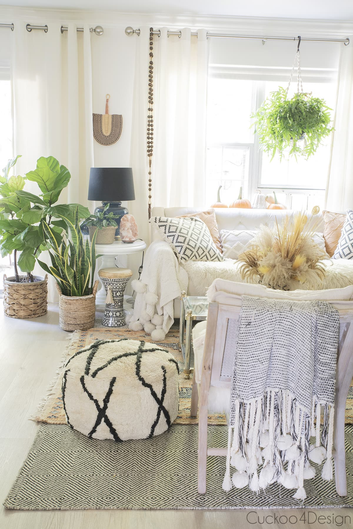 view of more plants in boho living room