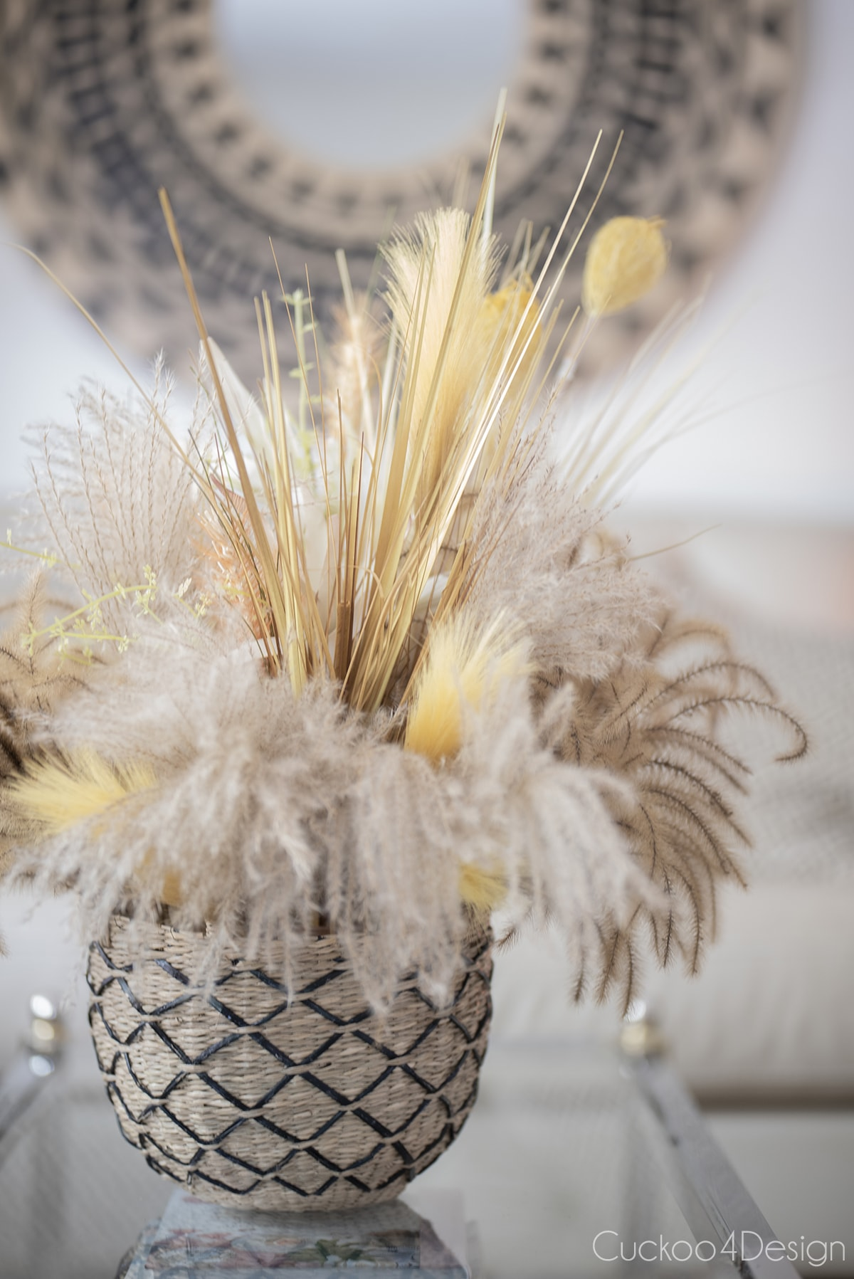 fall floral arrangement made from different grasses