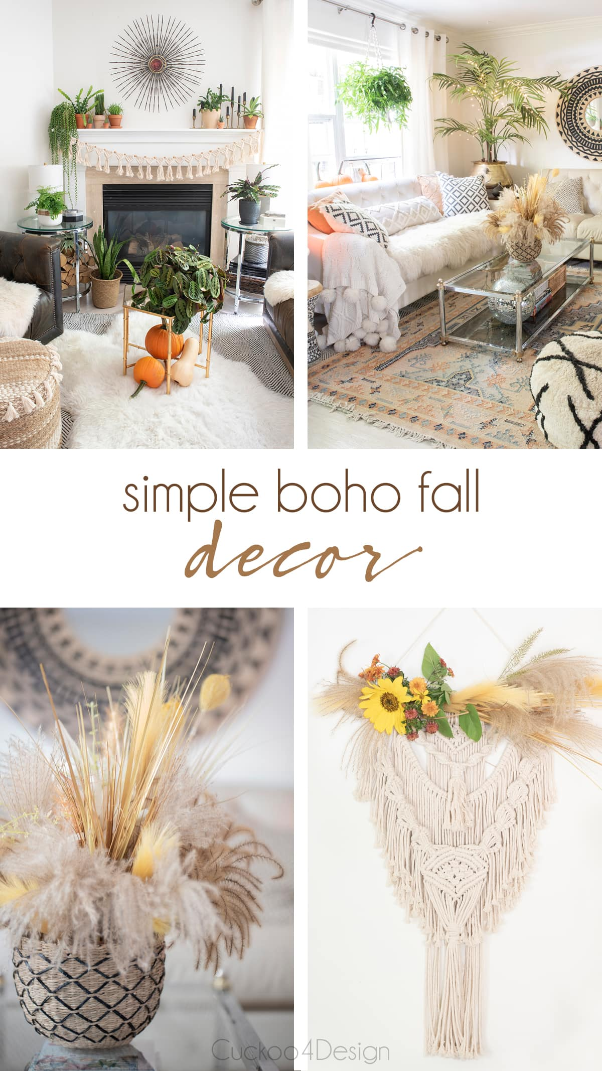 collage of 4 different types of boho fall decor