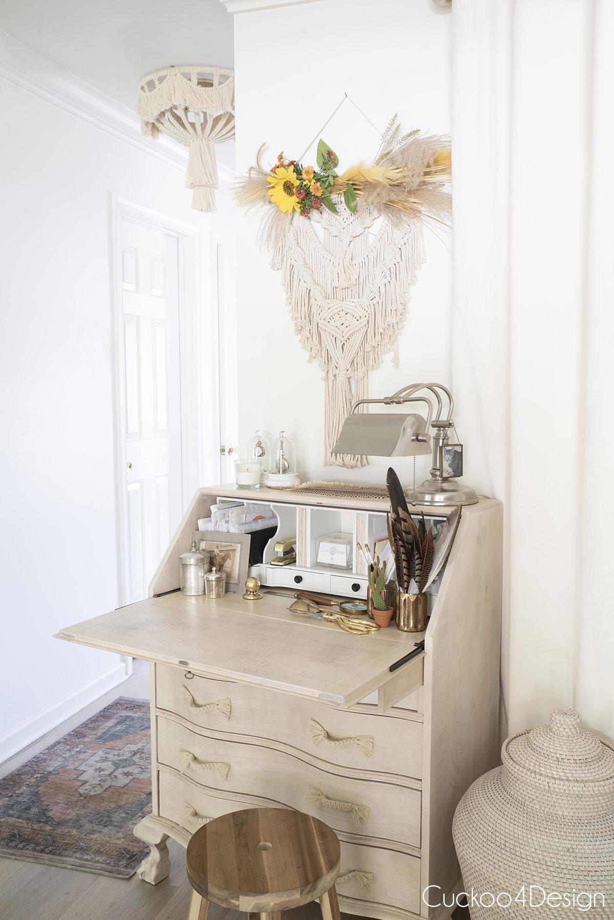 bleached secretary desk with macrame fall decor