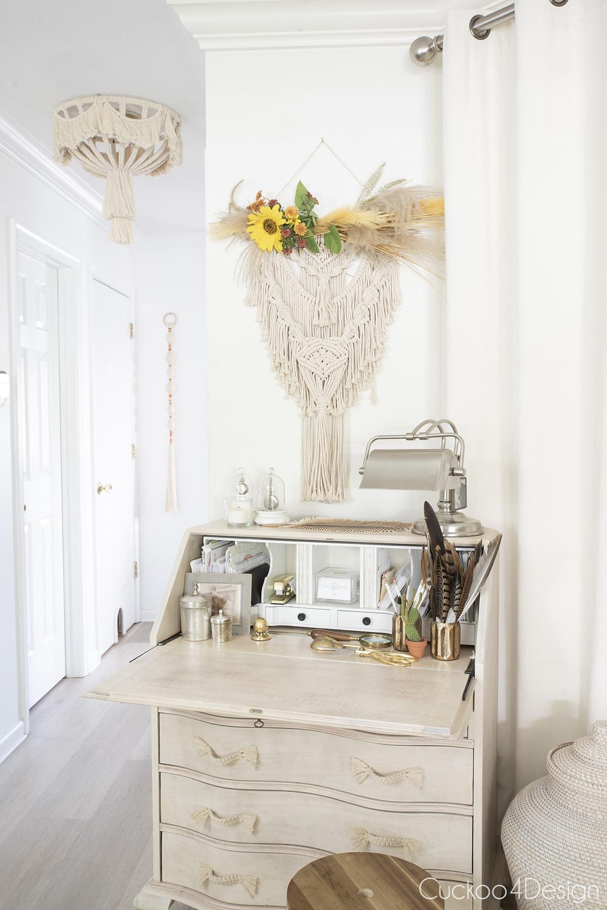simple boho fall decor above secretary desk